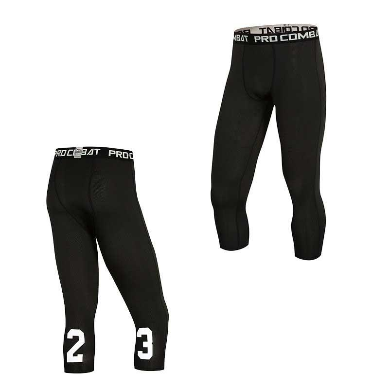 Men Capri Running Tights GYM Pant Bodybuilding Basketball Exercise Fitness Workout Clothing Exercise Sport Cropped Legging E1023