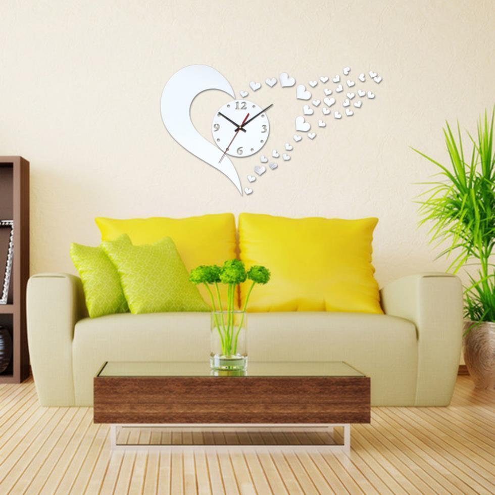 New Home Decoration Diy 3d Novelty Mirror Wall Clock Decoration ...