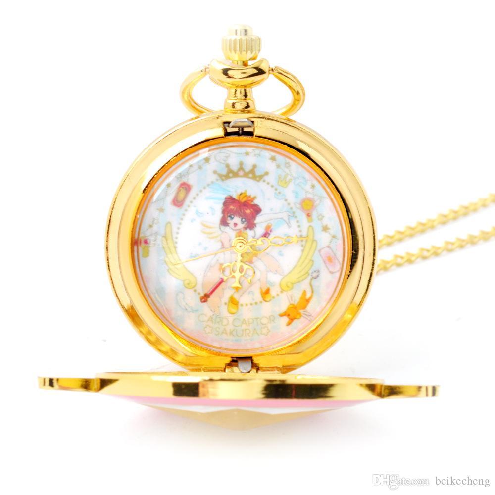 Commercio all'ingrosso / ashion Lovely rosa orologio da tasca al quarzo Anime Star Wings orologi da tasca magici collana catena ragazze signore orologi PW033