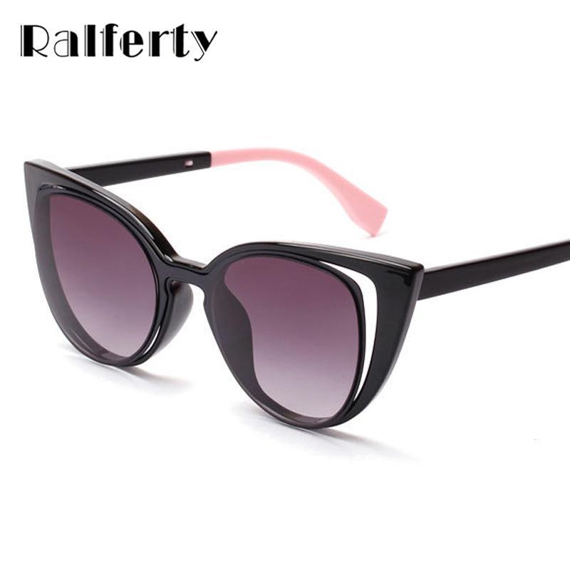 b6ec0b6a75f21 Ralferty 2017 Luxury Brand Designer Cat Eye Sunglasses Women Vintage ...