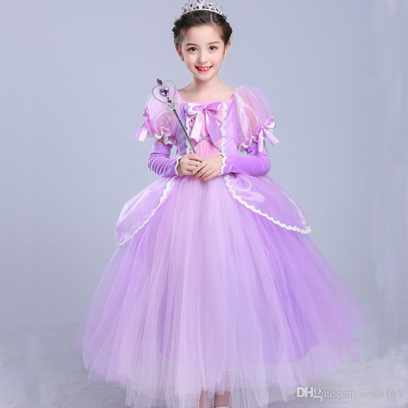 2018 Girls Rapunzel Princess Dress Up Cosplay Costume Kids Puff ...