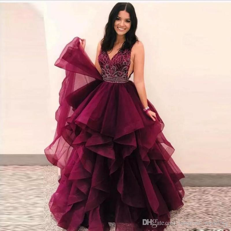 d4d2592121c Cascading Ruffles Quinceanera Dresses Long 2018 Ball Gown V Neck Sleeveless  Floor Length Prom Party Gown Beaded Organza Junior Prom Skirts Quinceanera  Ball ...