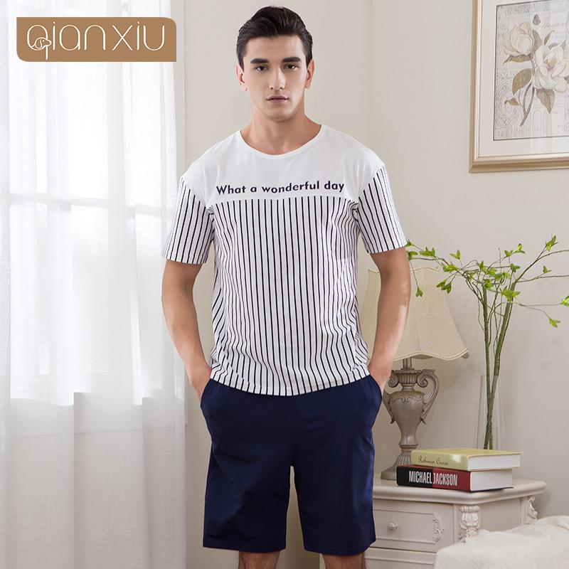 2018 Summer Brand Homewear Couples Casual Cotton pajama sets Men O-neck collar shirt + half pants Lovers Striped sleepwear suit