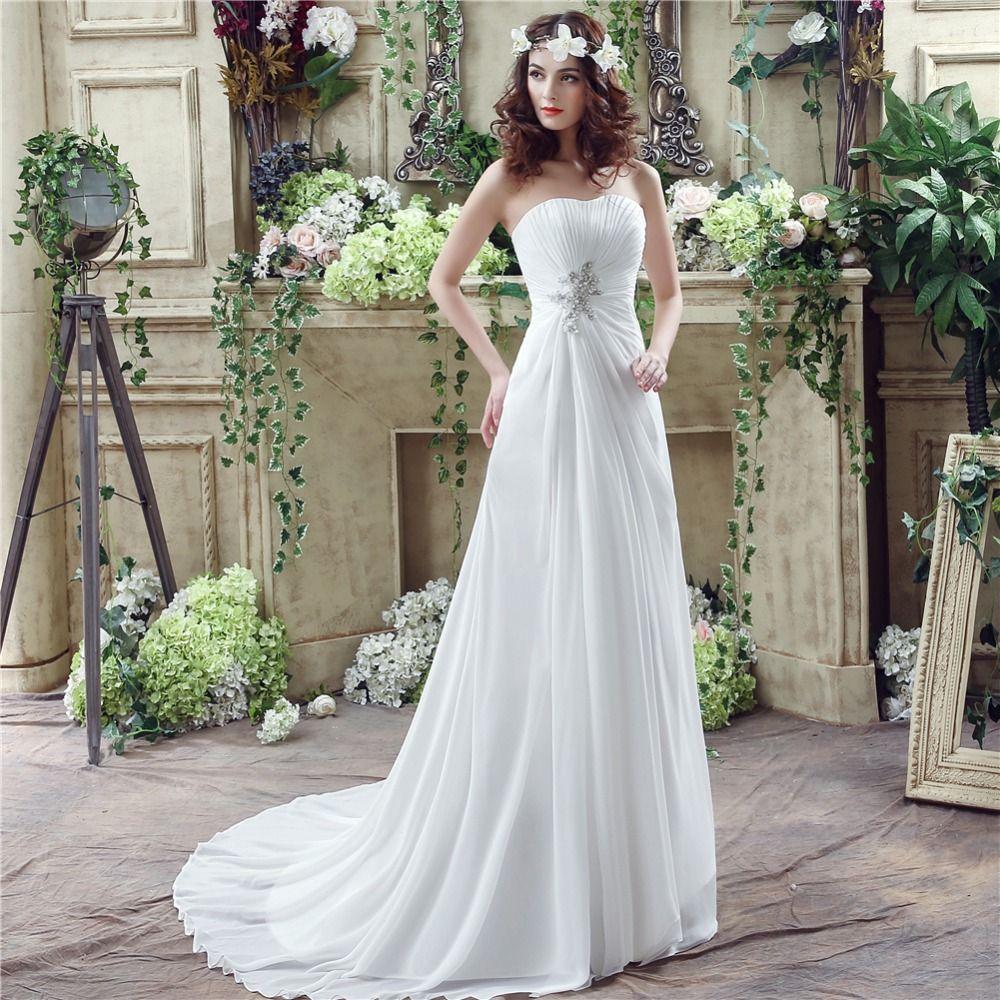 Formal White Or Ivory Chiffon A Line Beach Wedding Dresses Women s ... e9a7272031