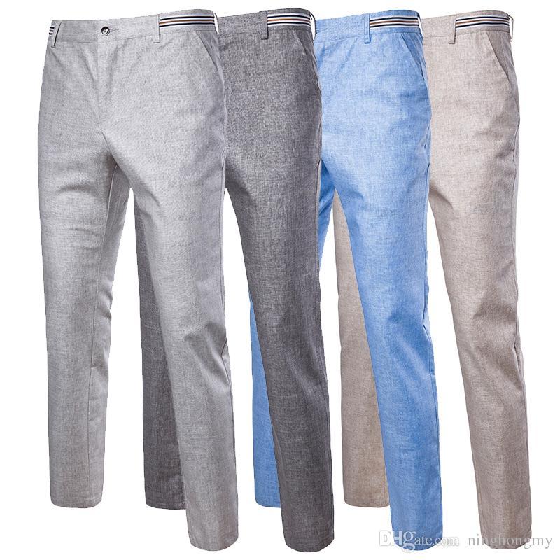 06e2146b65 Compre Primavera Verano Moda Delgado Pantalones Largos Hombre Hombre  Pantalones Rectos Pantalon Hombre Alta Calidad De Los Hombres De Lino De  Algodón ...