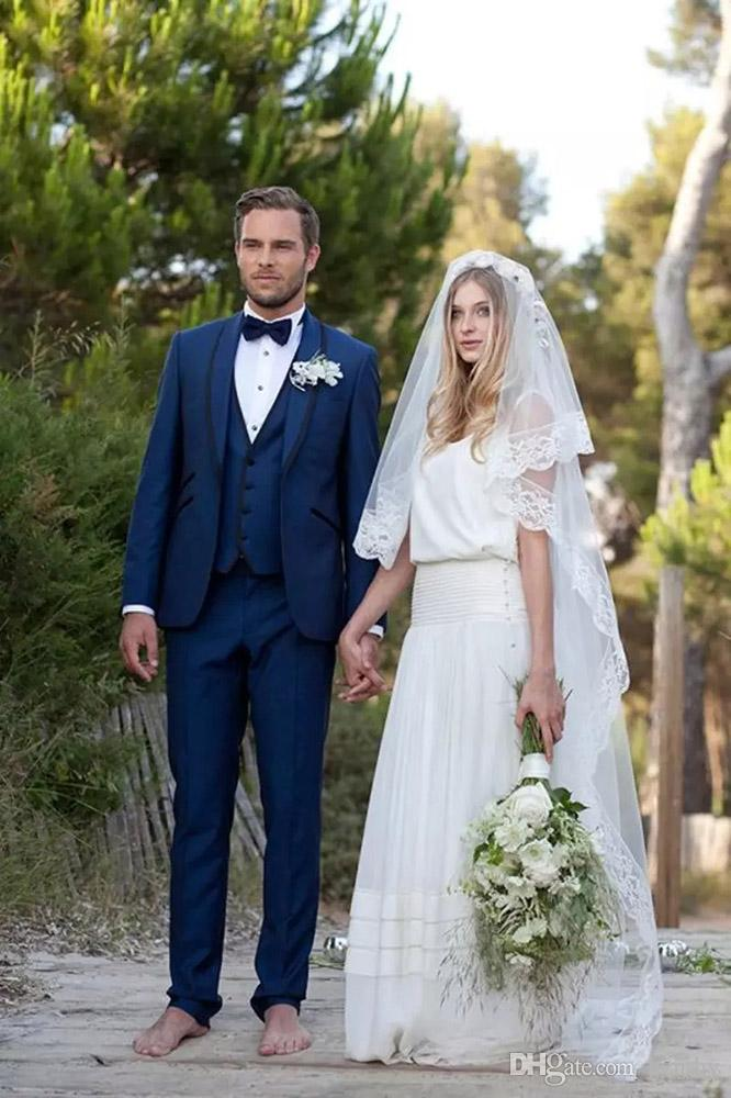 Royle Blue Men Suits Custom Made Wedding Suits For Man Bridegroom Tailored Tuxedo Slim Fit Formal Groomsman Prom Best Man