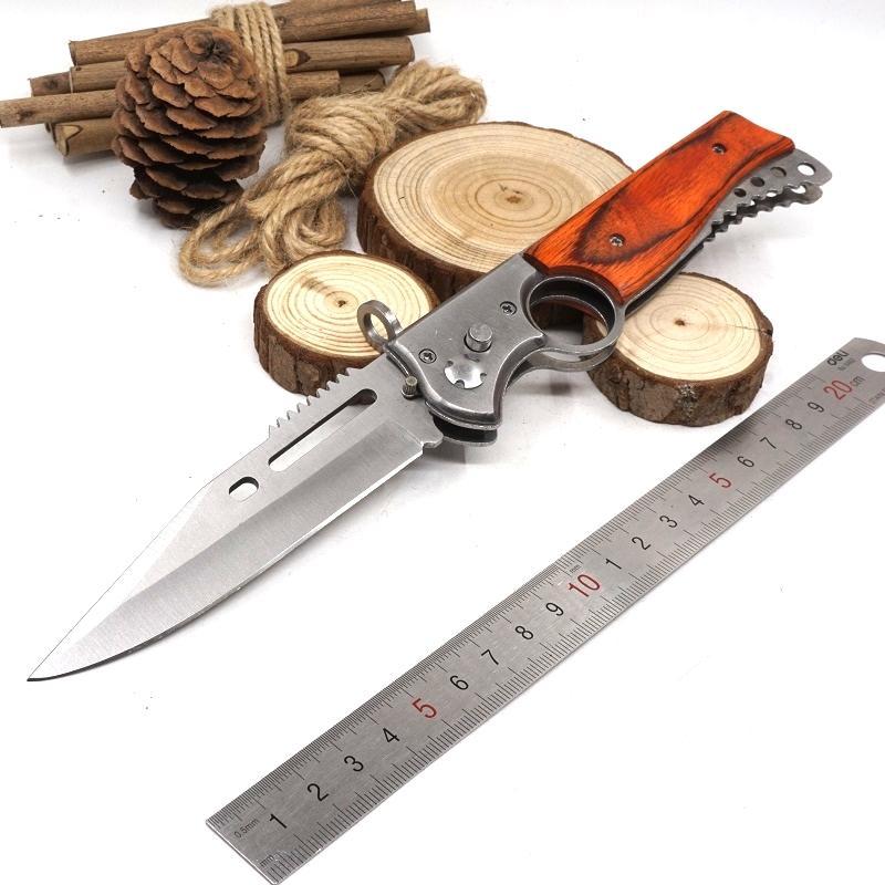 Big Size AK47 Folding Gun Knife Pocket Tactical Knife 440 Blade Wood Handle Hunting Survival Knife With LED Light Combat Outdoor EDC Tool