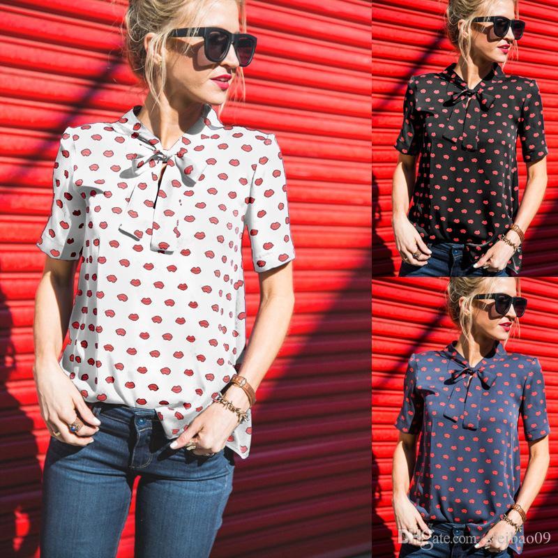 Femmes en mousseline de soie chemisier chemises Casual rouge à lèvres cravate Bow Summer Stand col européen à manches courtes Plus la taille S- 3XL Fashion Tops