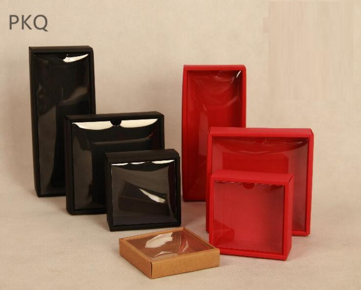 red kraft paper box with transparent lid black craft gift packaging
