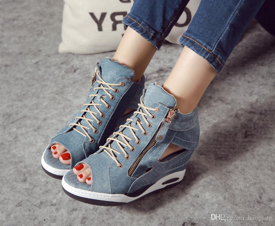브랜드 디자이너 - 고품질 캐주얼 스포츠 샌들 여성용 웨지 하이힐 데님 관음 증후군 검투사 샌들 여성용 신발