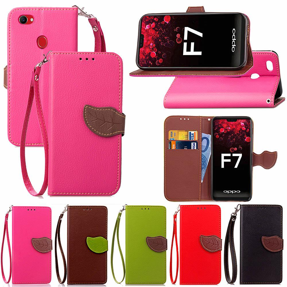 on sale 91965 a17a4 For OPPO F7 Case PU Leather Cover Leaf Flip Wallet Card Money Holder Strong  Removable Hand Strap