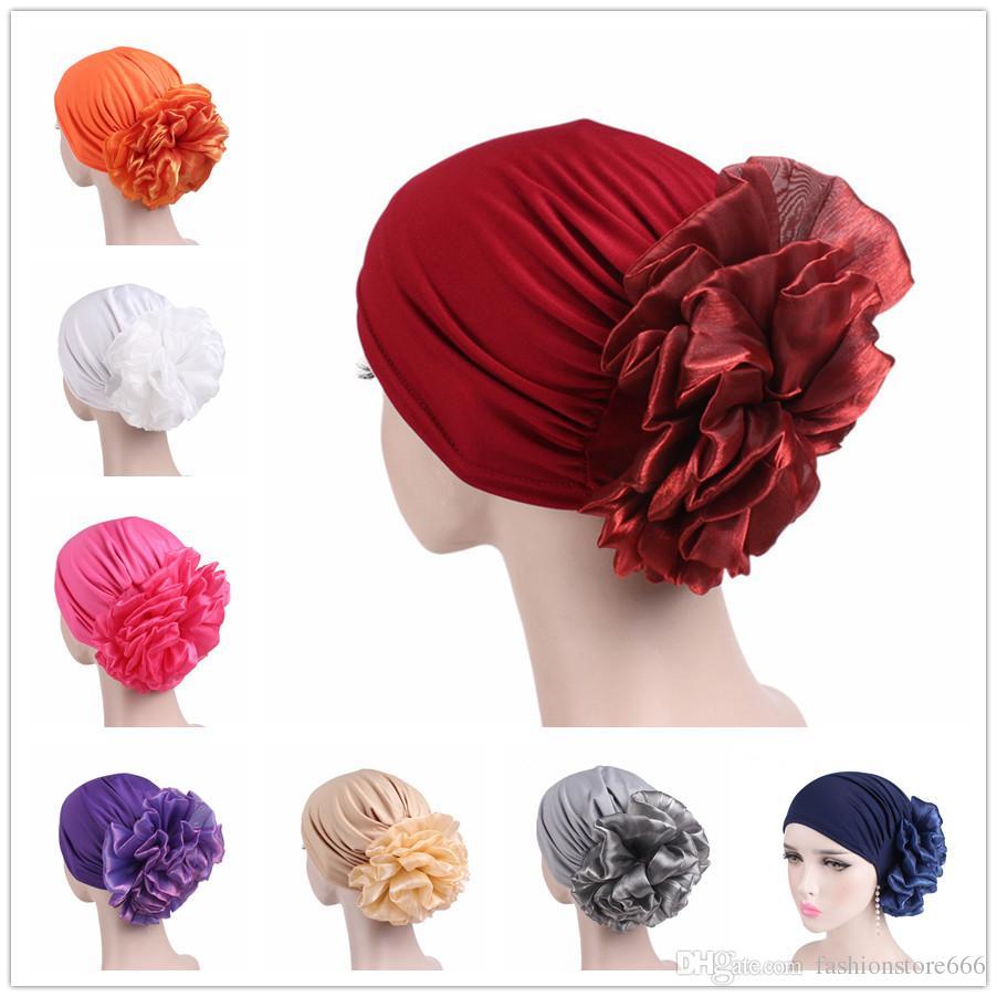 0f2fb2f9d61 New Woman Big Flower Turban Hair Accessories Elastic Cloth Hair Bands Hat  Chemo Beanie Ladies Muslim Scarf Cap for Hair Loss Women Muslim Turban ...