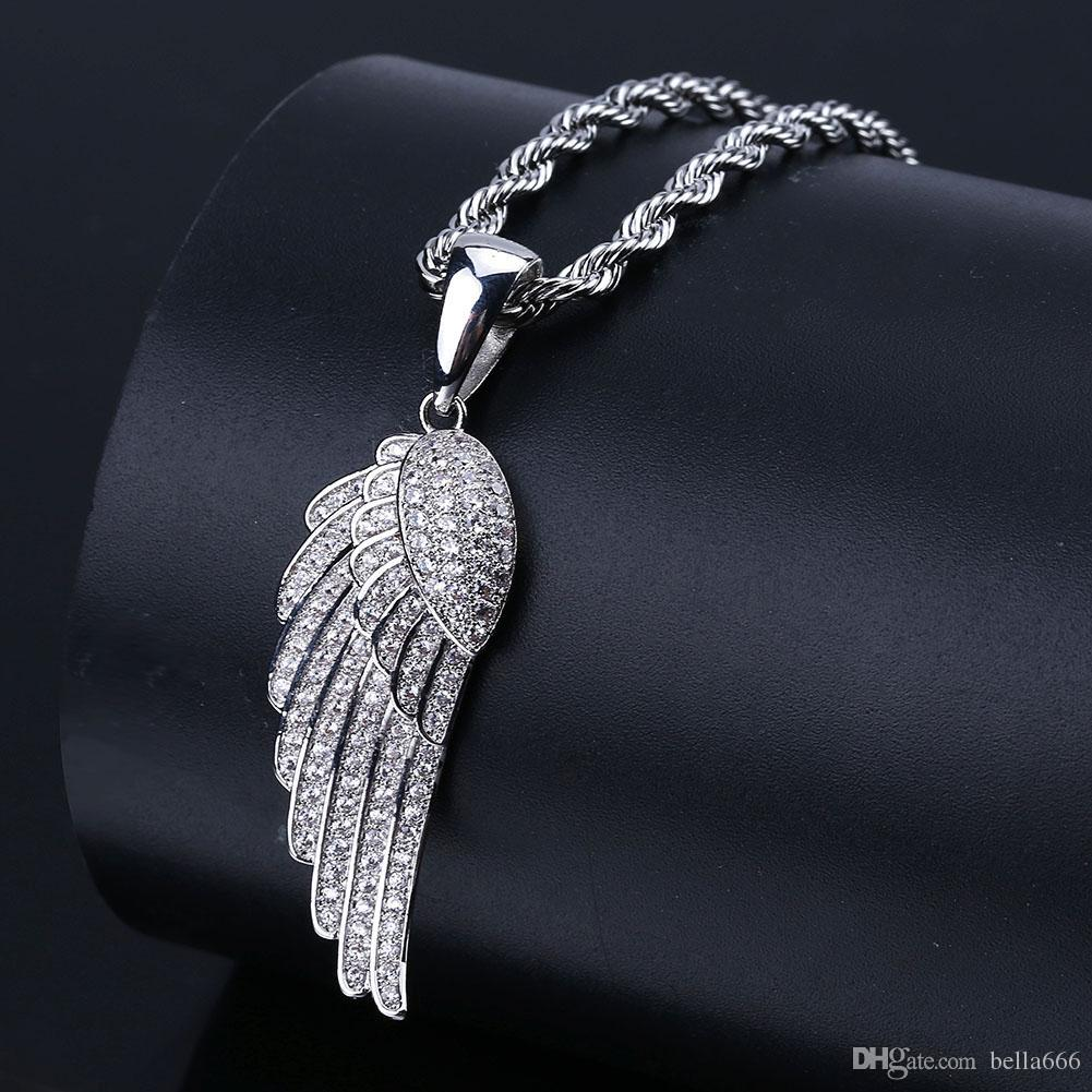 High Quality Hiphop Angel Wings Pendant Necklace Iced Out Cubic Zirconia Charm Necklaces With Rope Chian Rapper Jewelry for Men and Women