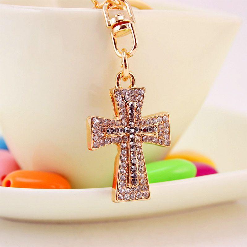 Exquisite Kristall Kreuz Schlüsselanhänger Schlüsselanhänger Chic Glück Geldbörse Tasche Anhänger Für Auto Frauen Schlüsselanhänger Halter Ringe G16Q