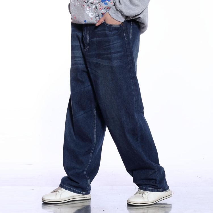 2019 Plus Size Baggy Hip Hop Jeans Big Men Casual Straight Loose Fit Jeans  For Men Dark Blue Denim Pants 38 40 42 44 46 From Robertiu 415b6210521f