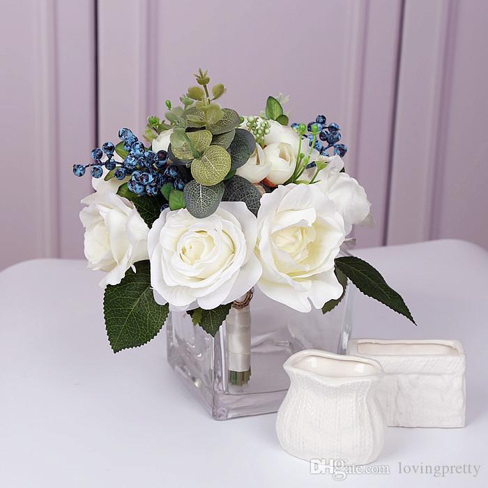 2018 Wedding Boeket Ivory Green Handmade Bridal Bouquets For Wedding Bouquets Flowers Artificial Peony Rose Leaf Brooch Buque De Noiva New