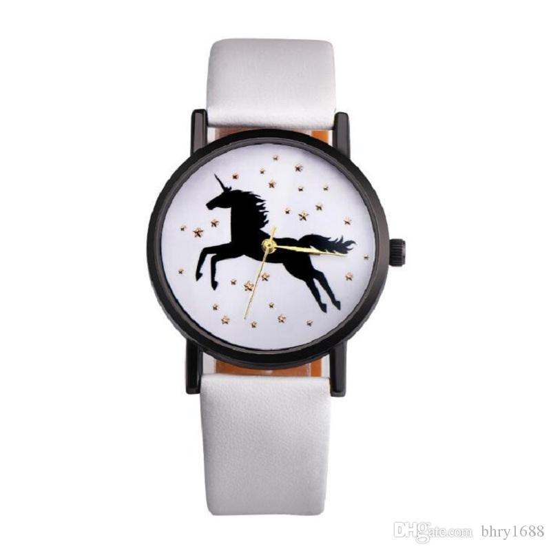 nero unicorno guarda la vigilanza di cuoio delle donne degli uomini Orologi da polso al quarzo semplici casuali Unisex studenti delle signore vestono l'orologio regalo
