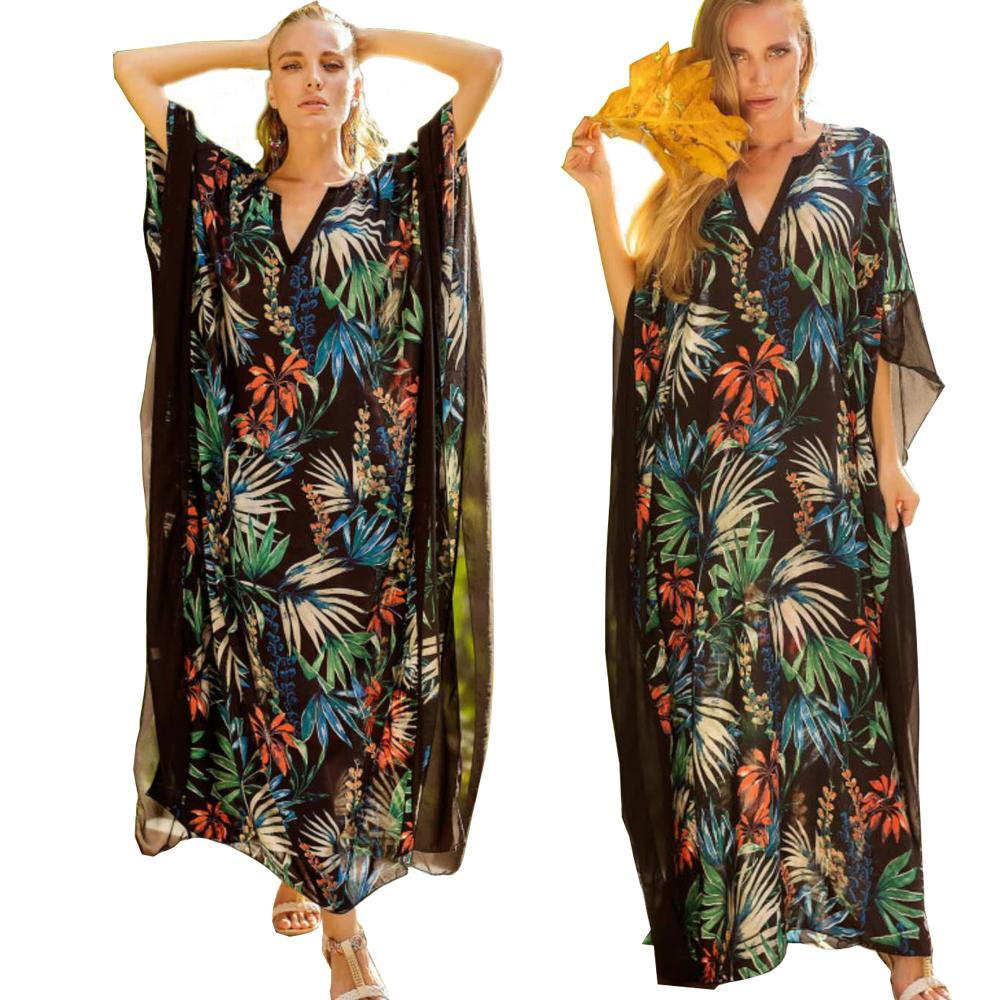 ea9dc624896 New Arrival 2018 Summer Women Boho Chic Floral Bohemian Long Dress Chiffon  Loose Kaftan Beach Maxi Dress Robe Femme Plus Size Long And Short Dresses  Black ...