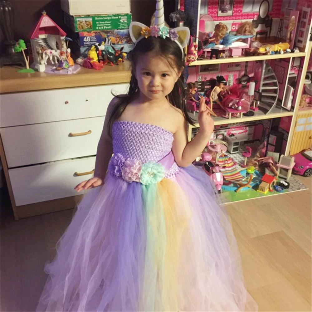 2019 Baby Girl Summer Wedding Tutu Dress Elegant Pink Mint Flowers Girls  Birthday Party Dresses Children Pony Unicorn Costume Clothes Y1892112 From  ... 687bb1c1d018