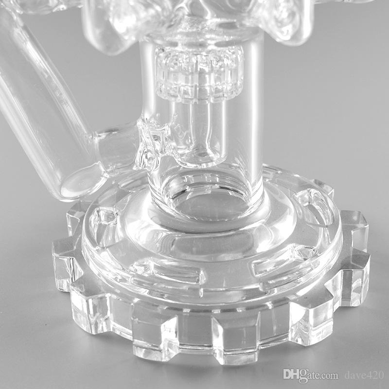 """Clear glass bongs multiple colum water pipes recycler oil rigs bong 14"""" bubbler pipes 18mm female joint with bowl"""