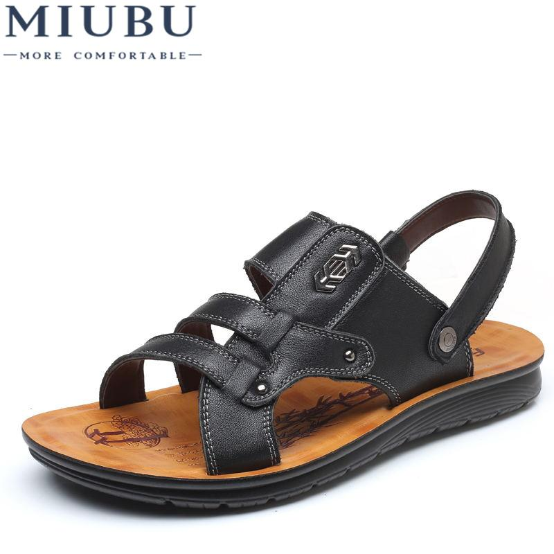 2811fd0001867 2019 MIUBU Top Quality Sandal Men Summer Slippers Male Genuine Leather  Sandals Men Outdoor Beach Shoes Cute Shoes Leather Sandals From Keroyeah,  ...