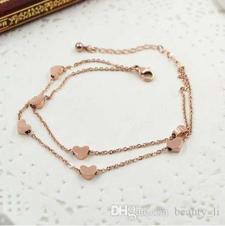 VOGUESS HOT SELL Lover Heart Anklet Foot Jewelry Rose Gold Titanium Steel Fashion Foot Chain Jewelry for Women Wholesale Price