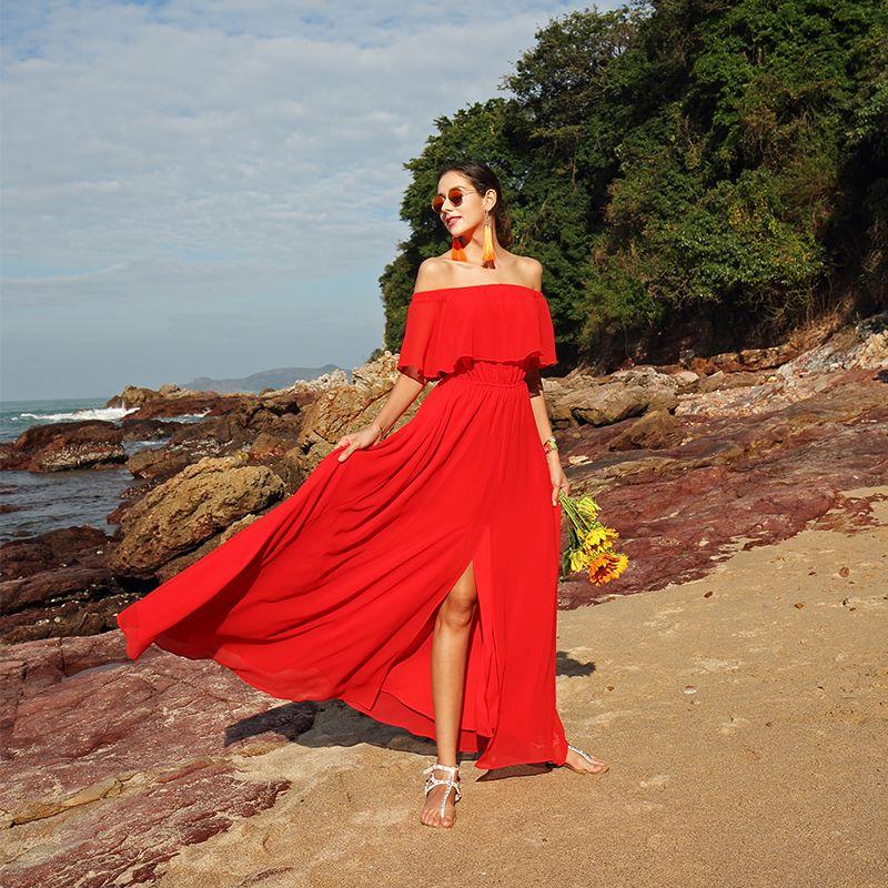Off Shoulder Beach Wedding Dresses With Ruffles 2018 Red Bohemian Wedding Gowns New Summer Bridal Dress