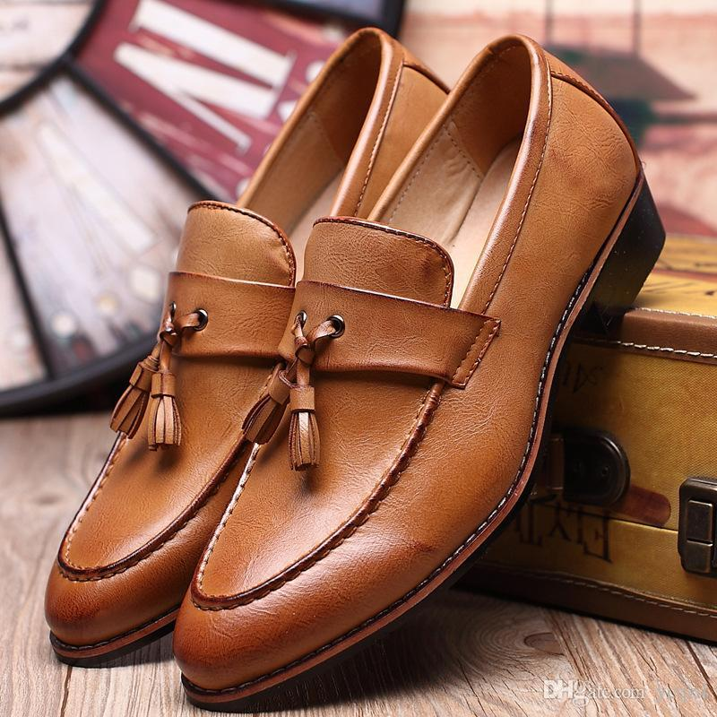 6b3dffc77aa Men Shoes European Style Handmade Genuine Leather Mens Brown Monk Strap  Formal Shoes Office Business Wedding Suit Dress Loafers Brown Dress Shoes  Leather ...
