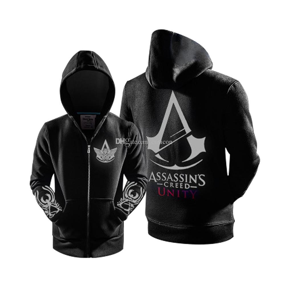 Kış 2016 Yeni Moda modeli Assassin creed Parlak Fermuar Hoodie Kazak ticken Hoodies Freddi ABD Erkekler Boyutu AB Daha
