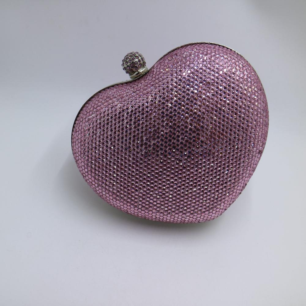 Silver/Pink Heart Shape Hard Box Clutch Bag Crystal Evening Bags for Womens Party Prom Wedding and Matching Shoes and Dress