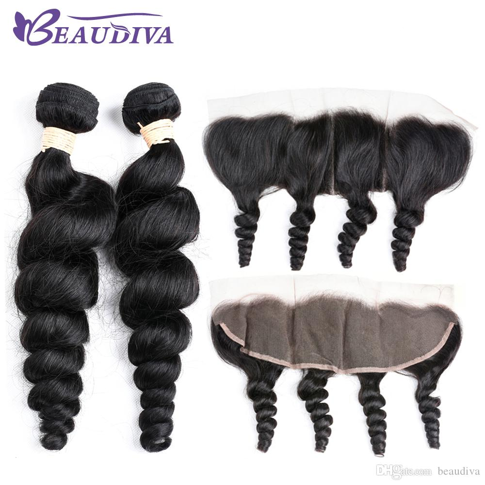 Beaudiva Malaysia Virgin Hair 2 Bundles with 13*4 Lace Frontal Unprocessed Wirgin Natural Color Loose Wave Human Hair Bundles With Closure