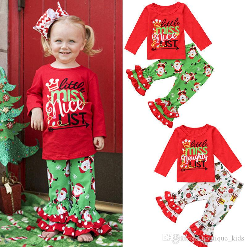 2018 Hot Girls Christmas Outfits Baby Girl Clothes Long Sleeve T ...