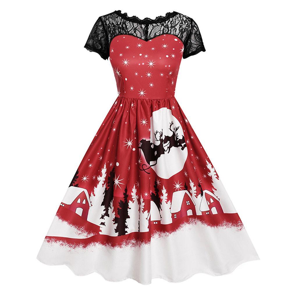 Christmas Party Dresses 2019 Uk.Hot Christmas Party Swing Women S Dress Casual Female Vintage Lace Short Sleeve Print Dress Plus Size Elegant Clothes Vestidos