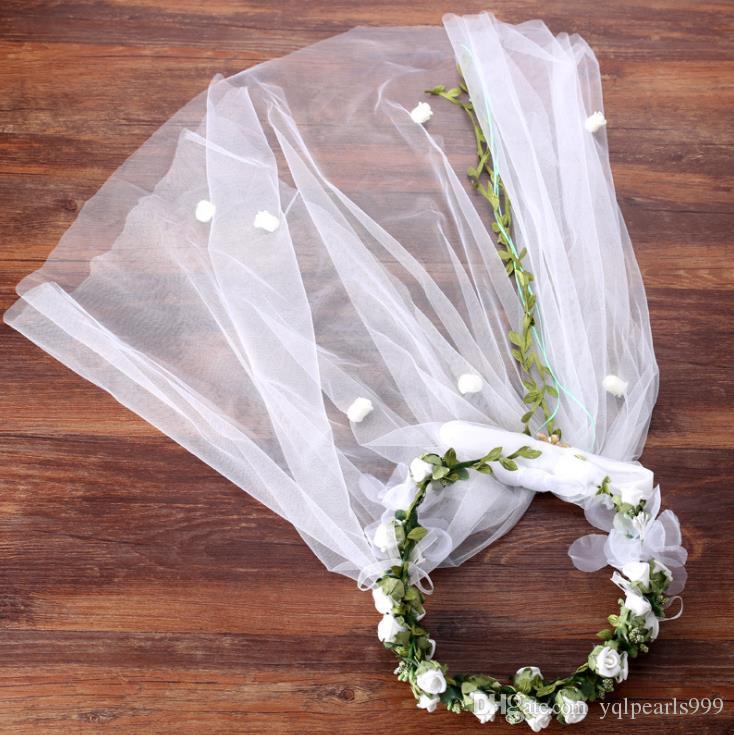 Gelin headdress çiçek çiçek düğün peçe Plaj Şapka aksesuarları aksesuarları