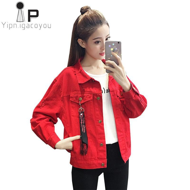cd6342eaded Red Denim Jacket Women Basic Coat Autumn Jeans Jacket Women Befree New Big  Size Harajuku Short Coat Korean Female Overcoat Denim Jacket With Fur  Vintage ...