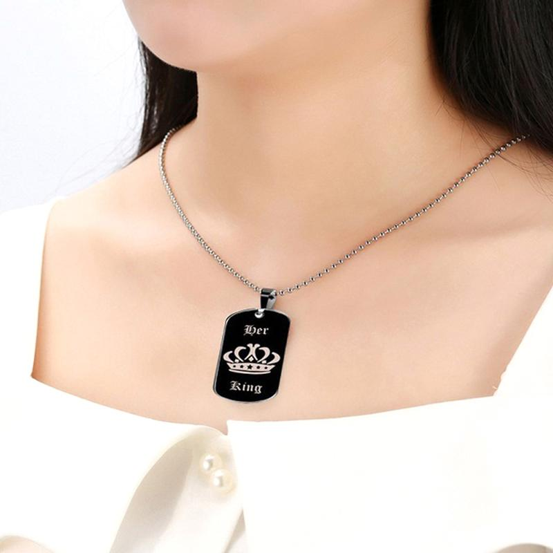 Partner Chain Crown Statement Long King Necklace His Women Jewelry Couples Fashion Necklaces Pendant Her Letters Trendy For