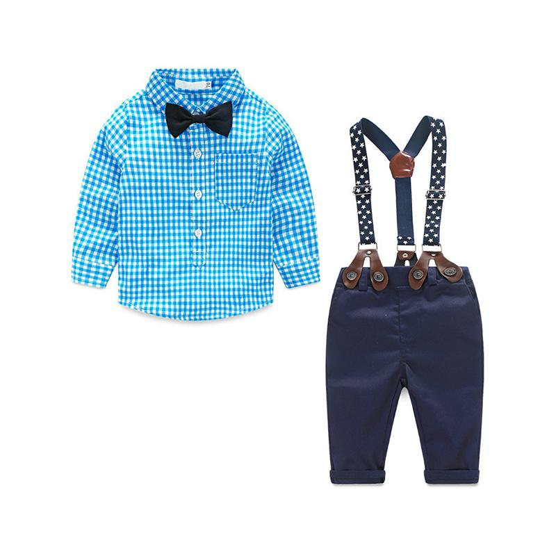 02f36cc75f Baby Boys Clothes Sets Casual Kids Clothes Sets Cute Suits 2PCS Children  Clothing Suits Plaid Shirt+Gallus Trousers For 1-4yrs