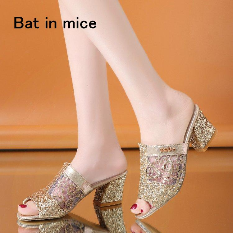 ad043d6a145 Hot Sale Summer Women S Rhinestones Slippers Slides Fashion Thick High  Heels Gladiator Sandals Beach Flip Flops Shoes Mujer A008 Silver Shoes  Slipper From ...