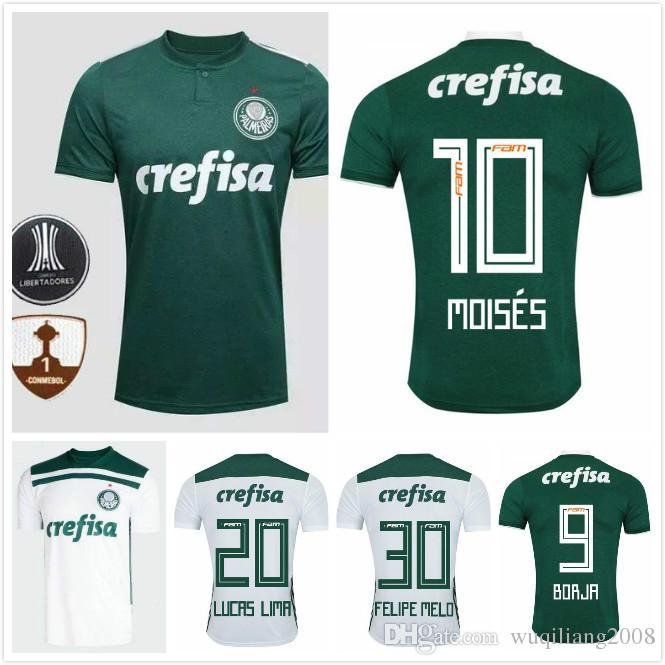 cd8e383500 Compre 2019 Palmeiras # 10 MOISES Camisa De Futebol 18 19 Casa Verde # 9  BORJA Camisa De Futebol Fora Branco # 7 DUDU Club Palmeiras Uniformes De  Futebol De ...