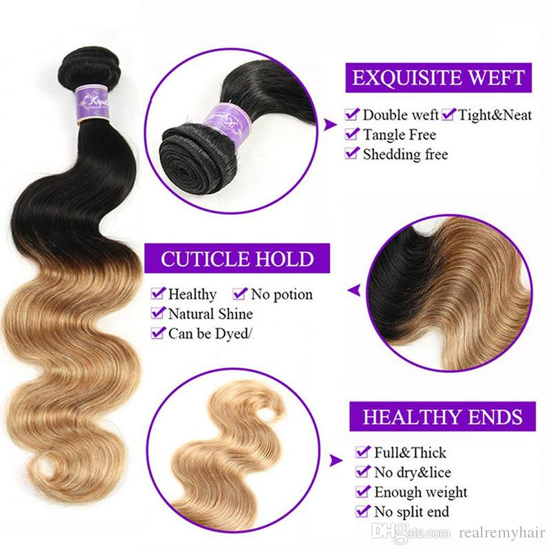 Ombre Brazilian Body Wave Weave Colored Brazilian 1B/27# Virgin Hair 3 Bundles with Lace Closure Cheap Blonde Human Hair Extensions
