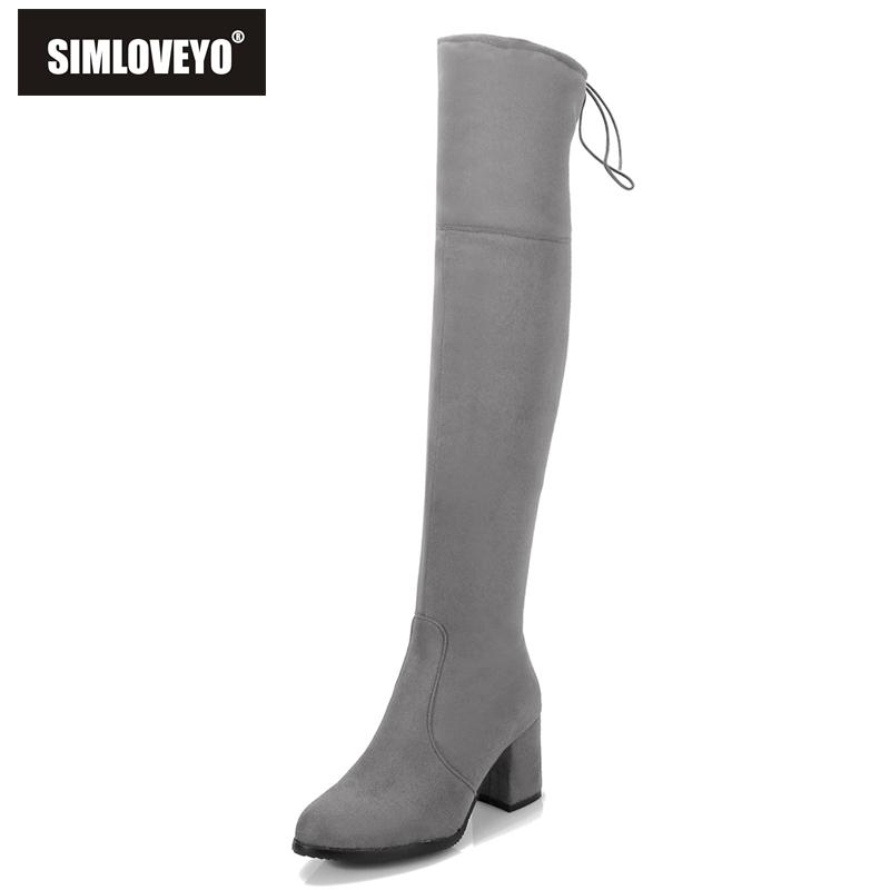 5903be7e705 SIMLOVEYO Black Gray Womens Micro suede Thigh High boots Block Thick heel  Stretch Over the knee boots women Plus size 32-48 B007