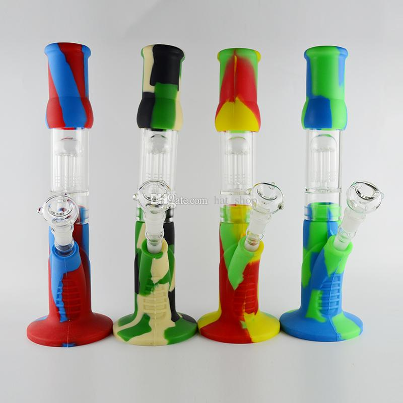"""Silicone Beaker Bong Oil Dab Rig in 8 Arm Tree Perc Durable 15""""inches Water Pipes Detachable Camo Nectar Collector Recycler Bongs Hookahs"""