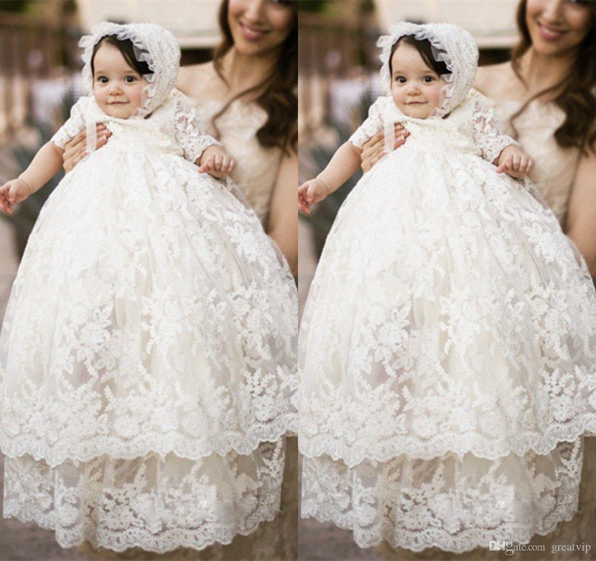 d1a3ef6f93d First Communion Dresses Jewel Two Layer Bow Lace Applique Half Sleeves  Baptism Outfits Formal Infant Girl Wear With Bonnet Baby Boy Christening  Dress Baby ...