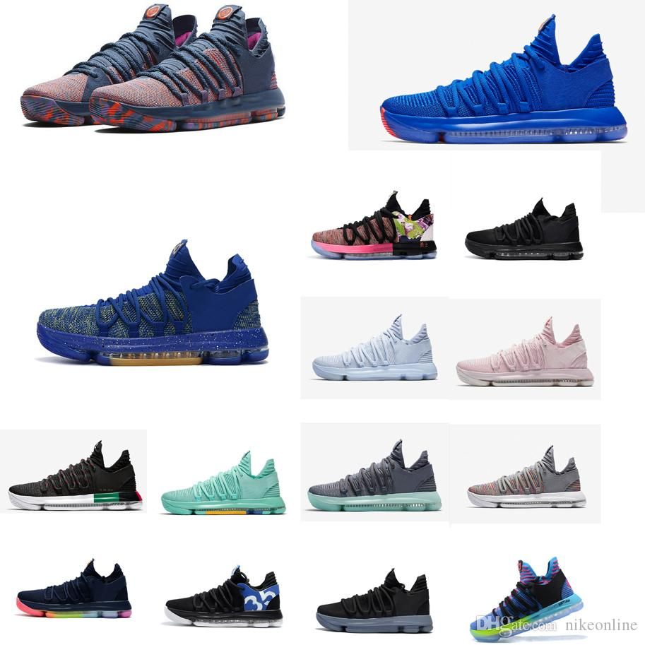db9f40b83a73 2019 Cheap Mens KD 10 X Low Top Basketball Shoes MVP Floral Flowers Roses  Blue Easters Kevin Durant KD10 Air Flights Sneakers Boots Kds For Sale From  ...