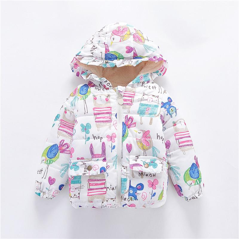 66d9a8e26 New Cute Winter Kids Jackets   Coats Girls Graffiti Parkas Hooded ...
