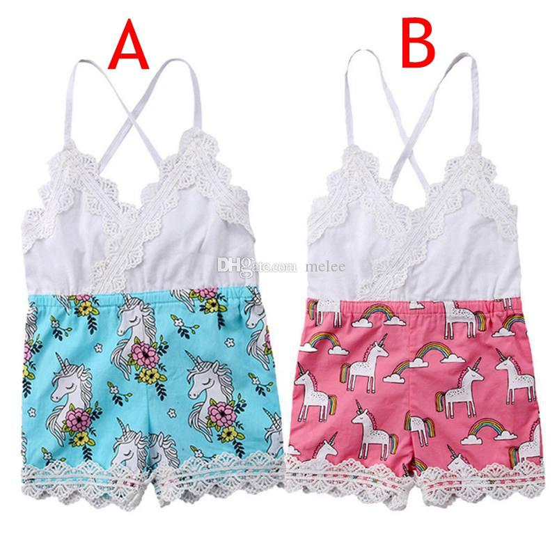 1697d5577 INS Summer Toddler Kids Baby Girls Lace Unicorn Romper Toddler ...