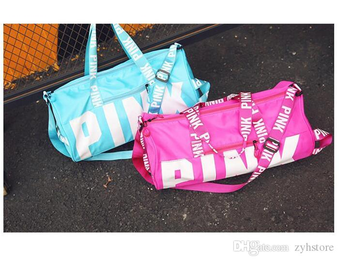 e9acca4054e1 Pink Handbags Duffle Bag VS Gym Yoga Bags Oxford Cloth Waterproof ...