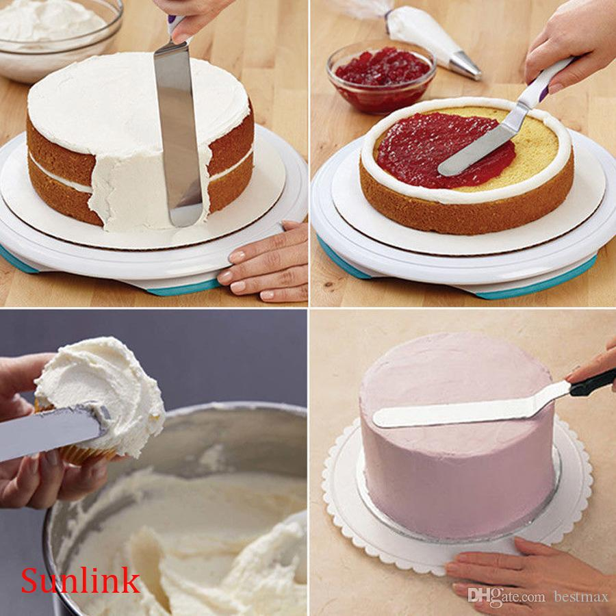 cake decorate tool kitchen supply 8 inch Spatula Straight Stainless Steel Icing Handle Cake Decorating Tools