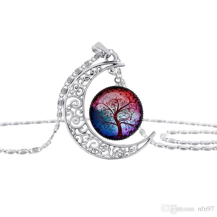 Freies Verschiffen! Neue Art- und Weiseweinlese-Baum der Leben-Halsketten-Mond-Edelstein-Frauen-hängende Halsketten-Höhle schnitzte 8 Mischungs-Schmucksache-Arten