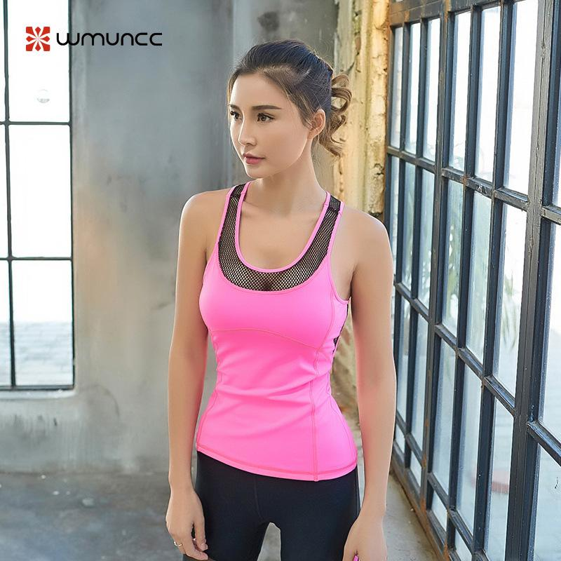 b29e4e95d9 2019 Women Yoga Gym Pink Top Shirts Padded Sexy Workout Tank Tops Fitness  Sports Racerback Vest Mesh Running Breathable Hollow Out From Monida, ...